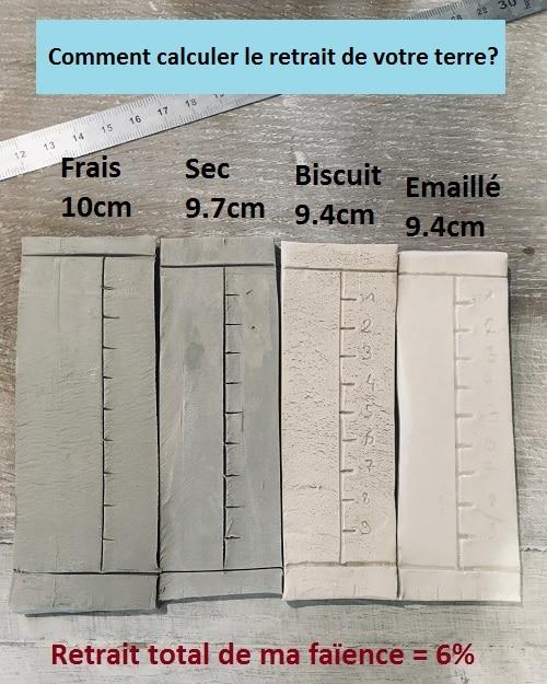 calcul du retrait de l'argile que j'utilise dans mon atelier de poterie